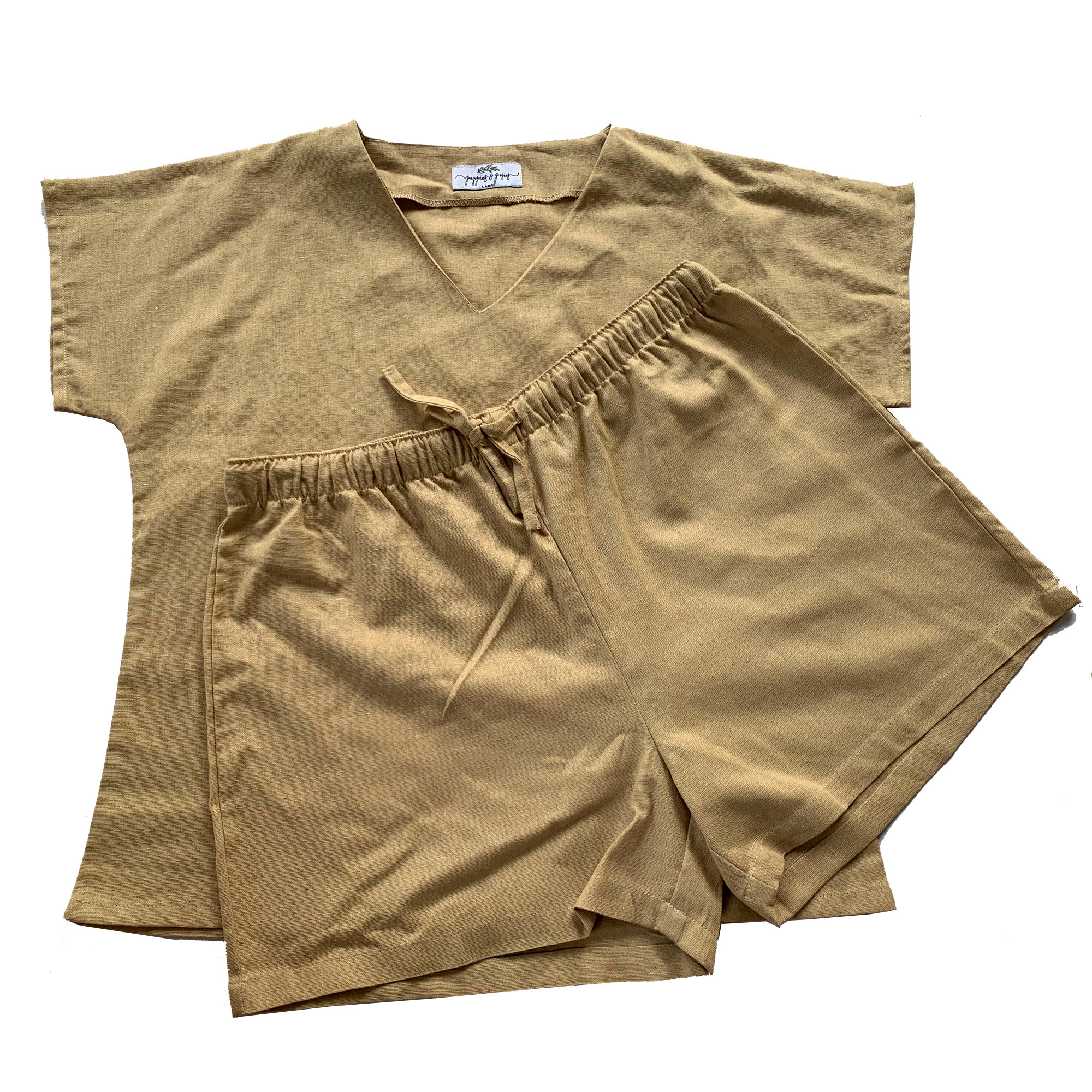 Linen PJ Set - V-Neck Tee and Shorts with elastic waistband and drawstring