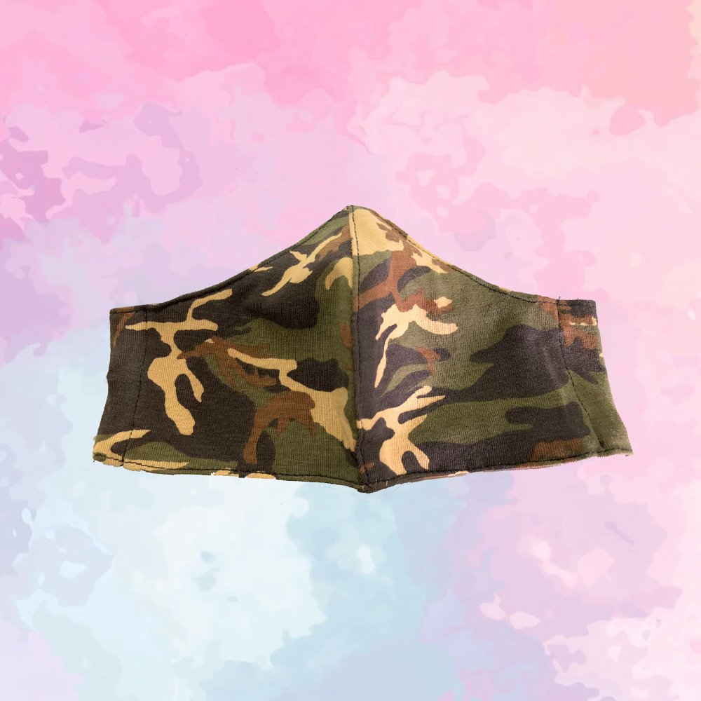 Dark Green & Brown Camo Mask - Kids Sized