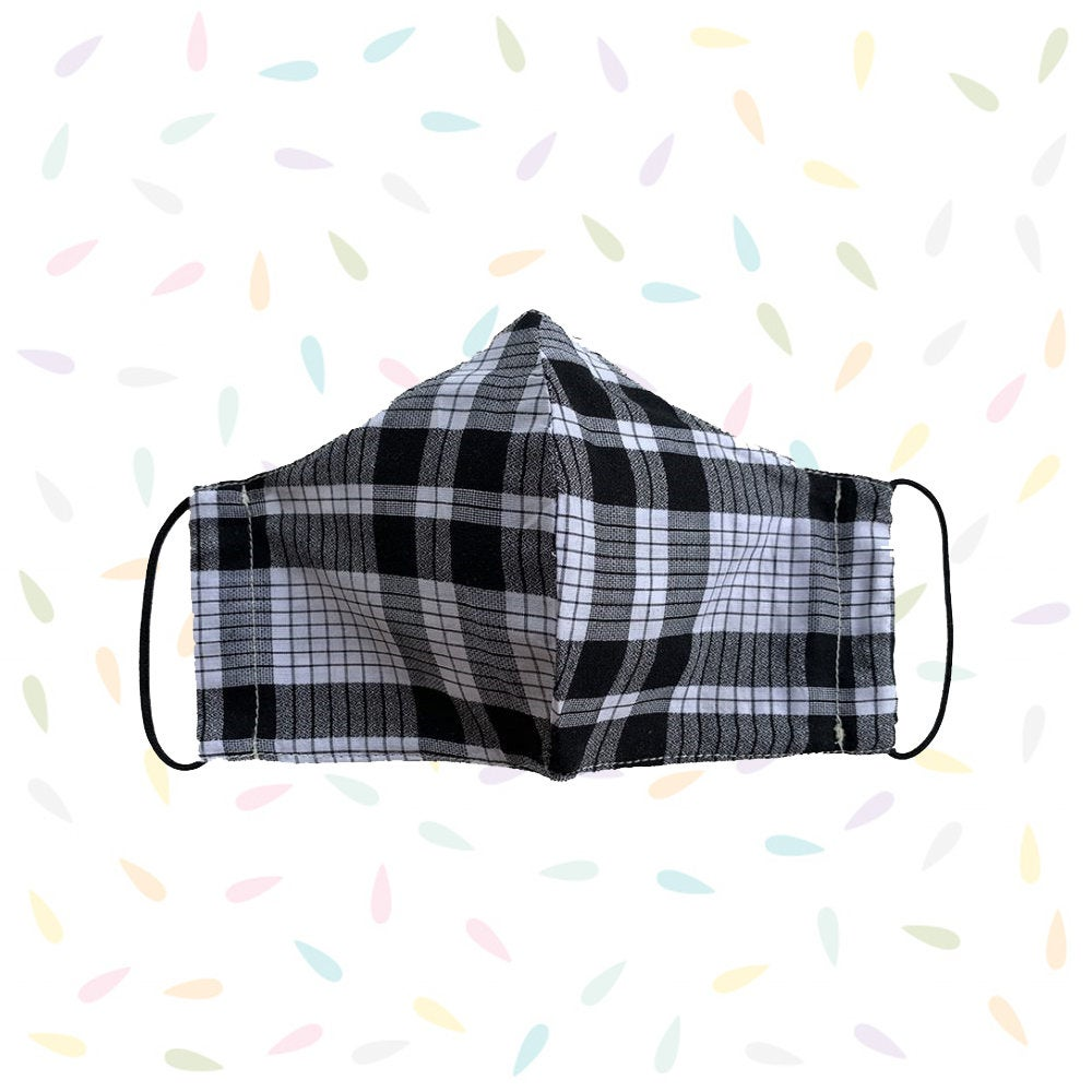 Black & White Plaid Mask  - Adult Sized