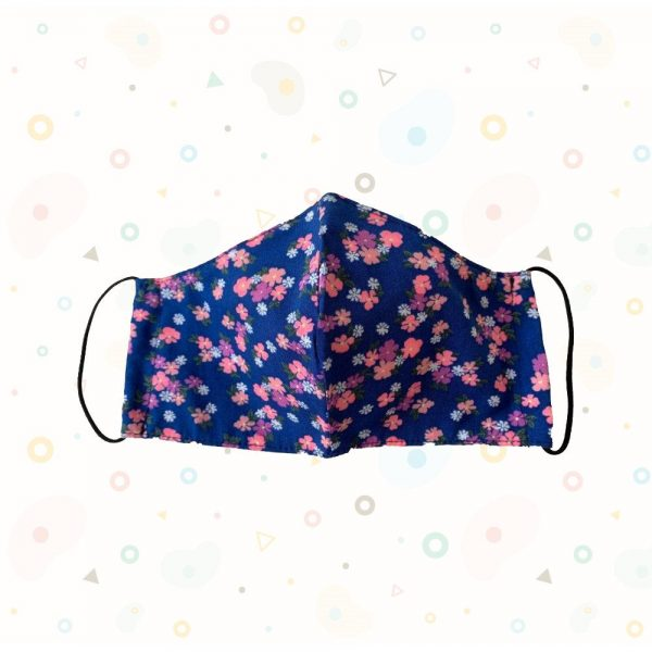 Blue & Pink Floral Print Mask - Adult Sized