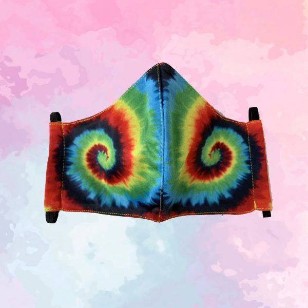 Rainbow Tie-Dye Swirls Mask - Adult