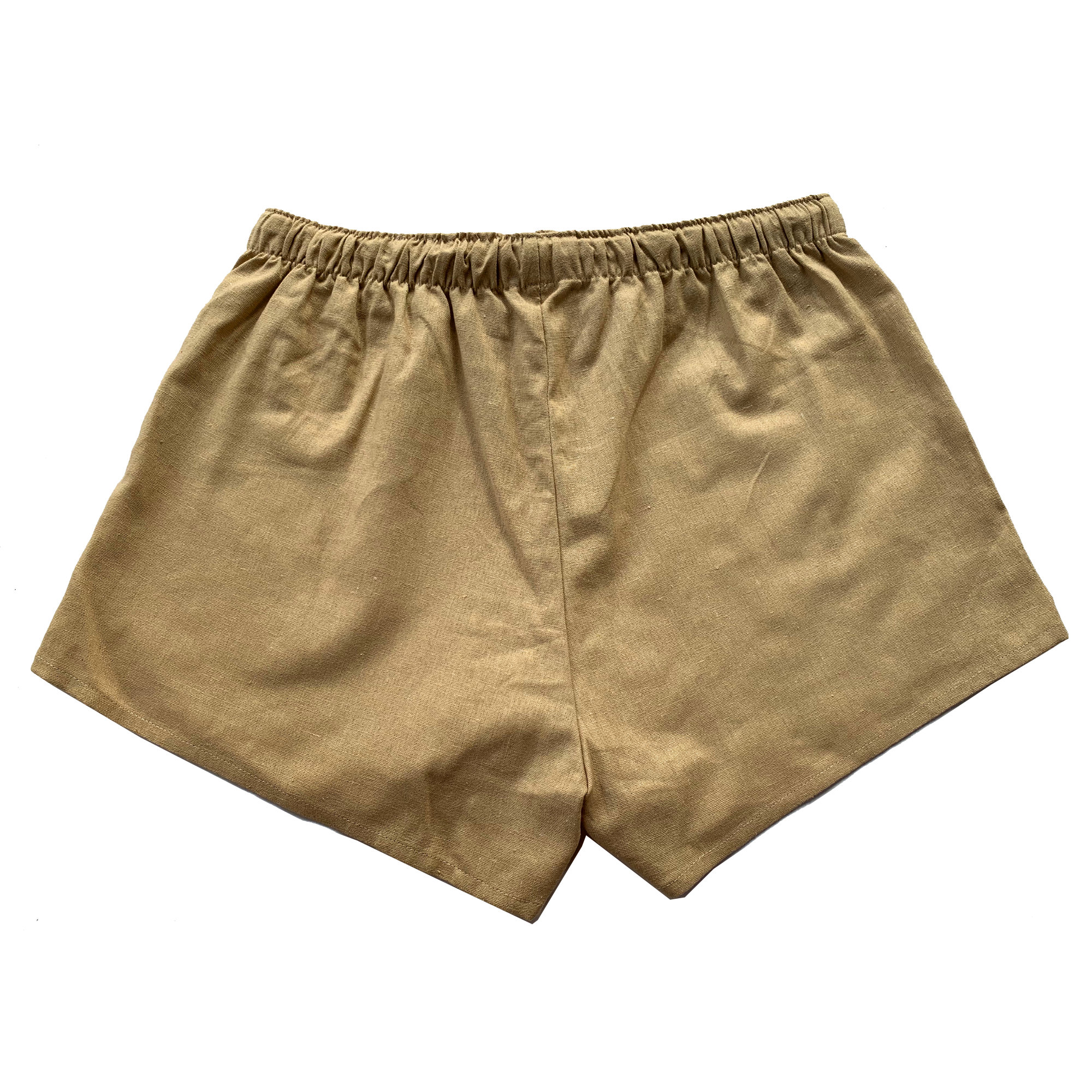 Ladies Linen Short with Elastic Waistband and Drawstring
